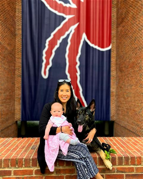 Now that it's summer travel season, we're bringing back an old favorite: #SpiderSpotting! We're kicking things off close to home with 2011 alumni Pin Thanesnant and Derek Wilhelm's recent visit to campus with daughter (and future member of the Class of 2042?) Amiya, and pup Havana. 🕷️❤️💙  Don't forget to tag @urichmond when you're sharing your #SpiderPride! 📸 : @pin_t24
