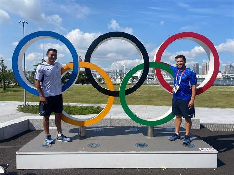 Today's #SpiderSpotting takes us to the #Tokyo2020 #Olympics, where @SpiderBaseball alum Jonathan de Marte and assistant coach Nate Mulberg are representing @israel_baseball in Tokyo! #SpiderPride 📸: @nmulberg