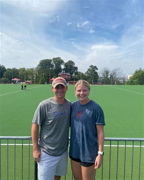 This week's #SpiderSpotting features Mike Cronin, '16, and #URichmond lacrosse alum Carolyn Chambers, '18, in Bloomington, Indiana, where they cheered on @spider_hockey against Indiana University! ❤️💙🕷