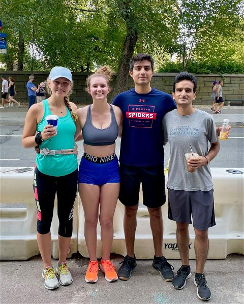 This week's #SpiderSpotting takes us to the Big Apple, where Faizan Chaudhry, '17 recently hosted the very first NYC #URichmond Young Grad Meet Up! #SpiderPride ❤️💙🕷️ / 📸: @ifaizii  Pictured: Peyton McGovern, '20 Sallie Cook, '21 Faizan Chaudhry, '17 Hassan Naveed, '20