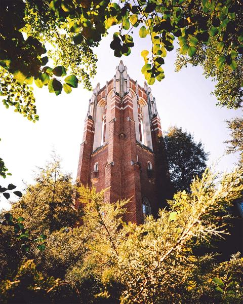 When that fading green and incoming fall foliage frames Boatwright Tower just right 😍 #TowerTuesday