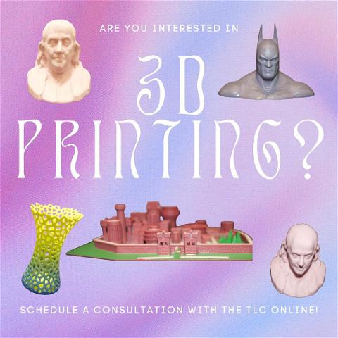 are you interested in 3-D printing?  The TLC offers high-resolution, resin 3D printing in our new location in room 212, on the second floor of boats right.   If you have a ready to print object, you can request an appointment online. If you interesting in learning to model a 3D print, you can schedule a consultation! Come check us out in person or online to learn more. #tlc #technologylearningcenter #3dprinting
