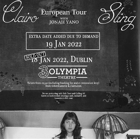 ⭐️𝗘𝘅𝘁𝗿𝗮 𝗱𝗮𝘁𝗲 𝗮𝗱𝗱𝗲𝗱⭐️  clairo has just sold out her 3Olympia show on 18th January!  An extra date has now been added on Wednesday 19th January 2022. Tickets on sale NOW via tmie   #3olympia #clairo