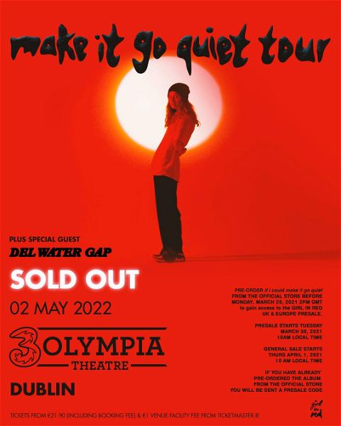 𝘚𝘱𝘦𝘤𝘪𝘢𝘭 𝘨𝘶𝘦𝘴𝘵 𝘢𝘯𝘯𝘰𝘶𝘯𝘤𝘦𝘥  @girlinred has announced rising indie-pop project @delwatergap as special guest for her upcoming sold out 3Olympia Theatre show next May!   #3Olympia #girlinred #delwatergap