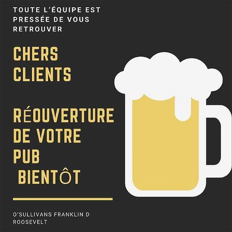 Quel bonheur de se retrouver dans quelques jours autour d'un bon repas avec une bonne pinte de bière bien fraîche. 🍺  Un peu de patience encore.  Toute l'équipe vous attend avec votre plus beau masque. 😃  A bientôt 🍀  #deconfinement#reouverture#bar#osullivanspub#biere