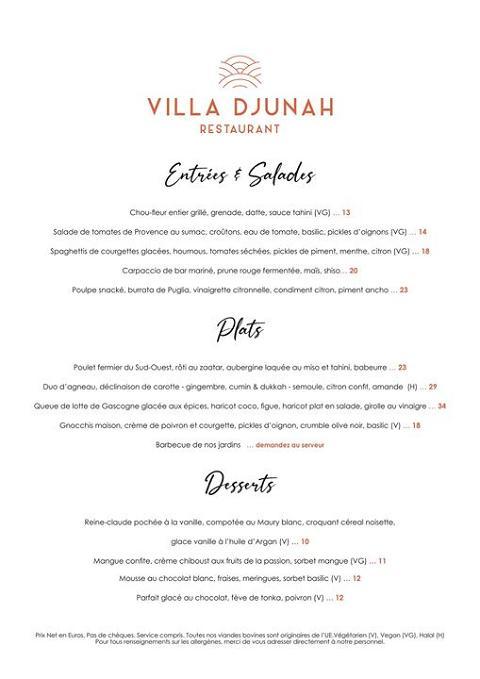 Villa Djunah Restaurant Mardi au Samedi 19H – 22H