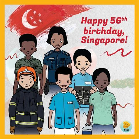 Image posted by caretogobeyondahp to instagram with caption: 🇸🇬 Happy National Day!  On the nation's 56th birthday, we would like to express our deepest gratitude to the everyday heroes keeping our nation safe. Thank you, for protecting us amid these challenging times.  To our Allied Health Professionals who have been caring for patients with COVID-19, taken on roles outside of your regular job scope and worked around the clock behind the scenes, we salute you.